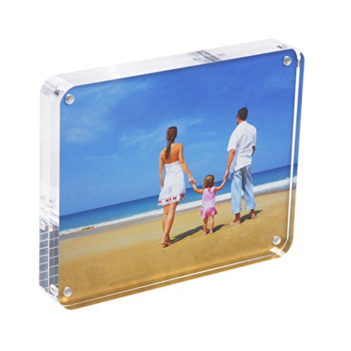 8x10 Acrylic Picture Frame, Clear 15+15MM Thickness Double Sided Frameless Desktop Photo Display with Gift Box Package(Round Corner) 15 Mm Clear Acrylic