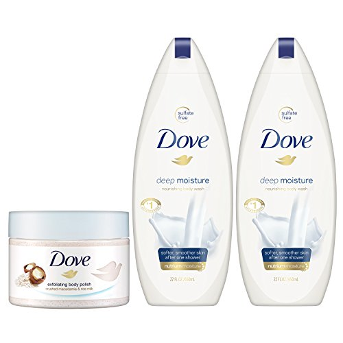 Dove Body Wash and Body Polish, Exfoliate and Deep Moisture 3 count