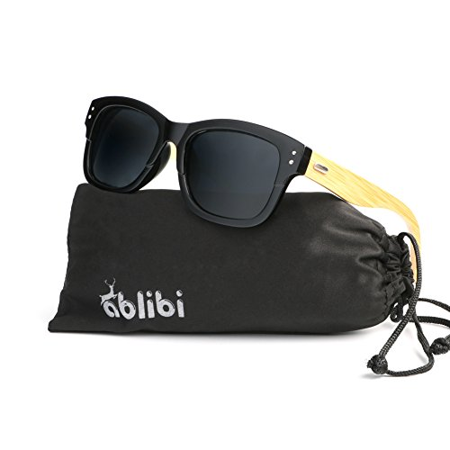 Ablibi Womens Polarized Bamboo Sunglasses With Coating Polarized Lenses in Wood Gift Box (Black, - Luxury Affordable Sunglasses