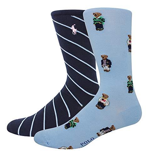 - Polo Ralph Lauren Men's 2-Pack Assorted Polo Bear Solid Dress Sock, Light Blue/All Over Preppy Bears
