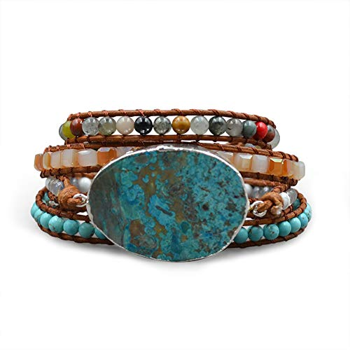 FLORA JEWEL Woven Beaded Leather Wrap Bracelet, Adjustable Braided Jasper Stone Bangle, Healing Gemstone Cuff for Womens Gift