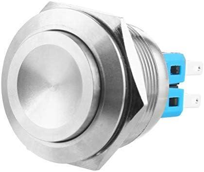 Larcele 28mm Drücken Taster Druckknöpfe DIY Wasserdicht Momentan Push Button 1NO Edelstahlschale,1 Stück JSANKG-22 (Momentan,Hoher Konkaver Kopf) MEHRWEG