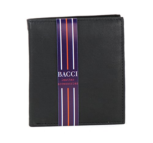 Bacci Mens Wallet European Hipster Style Large Bifold Wallet Includes Best Security RFID Blocking Protection - Black by Bacci
