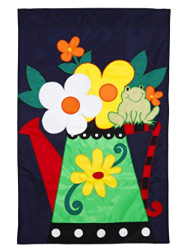 (Evergreen Watering Can & Frog Applique Large Nylon Flag 28 By 44 Inch)