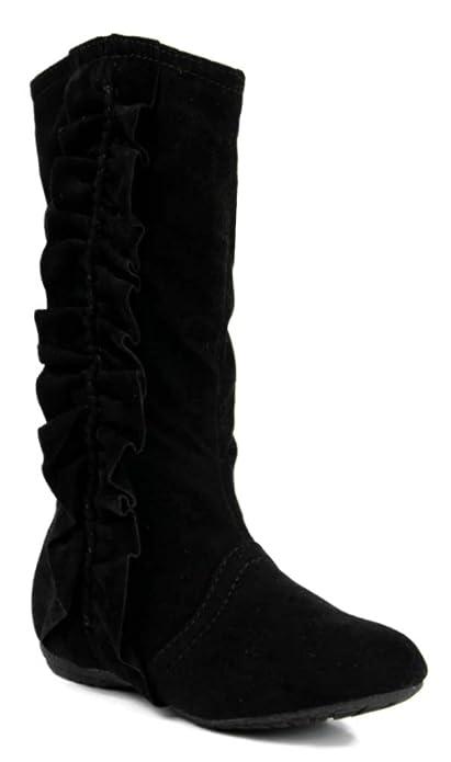 Amazon.com | Kali Footwear Girls Event Jr Faux Suede Ruffle Boots ...
