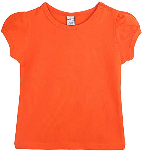 - Lovetti Baby Girls' Basic Short Puff Sleeve Round Neck T-Shirt 12-18M Orange