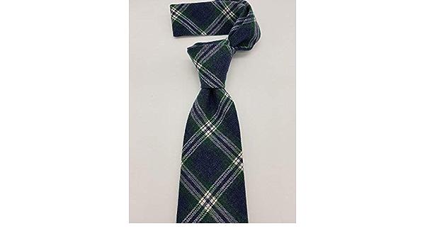 Corbata azul inglés cuadro azul y verde hecho a mano hand ...