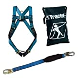 Fall Protection Arrest Kit, Full Body Harness, with 6' Shock-Absorbing Lanyard
