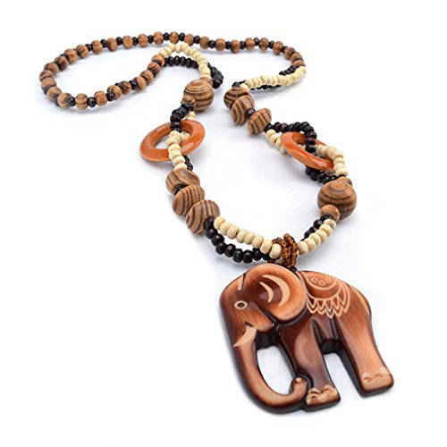 Wood Bead Necklace Earrings - Dolland Bohemian National Wind Retro Wood Chain Ornaments Wooden Elephant Pendant