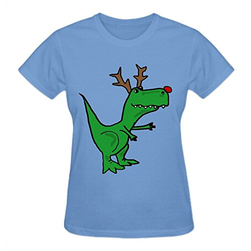 Charles Cheek Funny Christmas Green T Rex Dinosaur With Red Nose And Antlers Women's Music O Neck T Shirts (Wiz Nose)