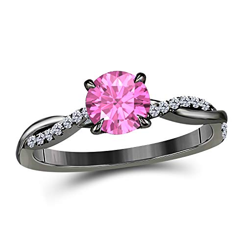 Jewelryhub 1.20 Ct Round Cut Created Pink Sapphire 14K Black Gold Finish Sterling Silver Swirl Style Engagement Ring Women