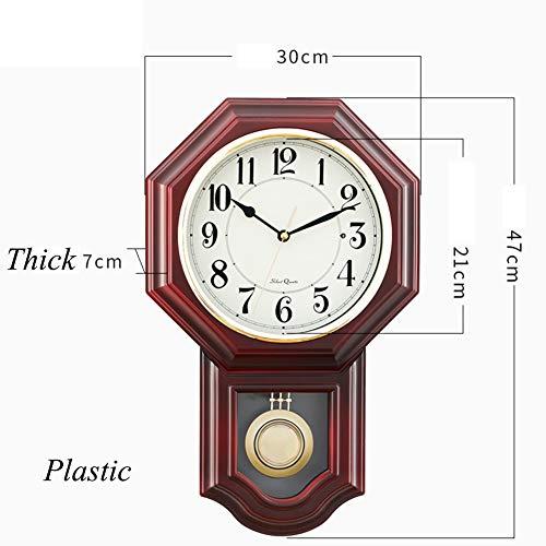 - Vintage Pendulum Wall Clock,Silent Decorative Wood Clock with Swinging Pendulum Light Wooden Design for Living Room Kitchen Home Decor-C 12inch