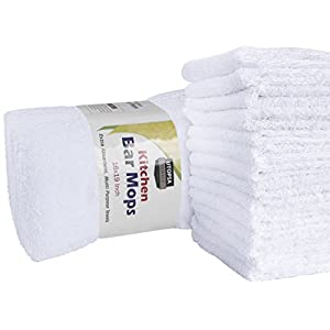 Utopia Towels Kitchen Bar Mop Cleaning Towels (12 Pack, 16 x 19 Inch) - Pure Cotton White Kitchen Towels, Restaurant Cleaning Towels, Shop Towels and Rags - Bulk Bar Mop Set