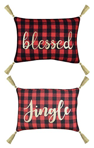 FANTASY HOME Pack of 2 Merry Christmas Accent Pillow Covers, Glitter Print on Red Black Plaids Checker Decorative Throw Pillow Case, Welted and Tassels Lumbar Cushion Cover 14