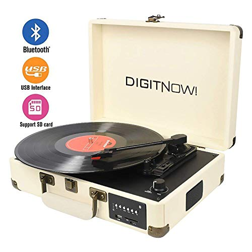 (DIGITNOW Record Player, Turntable Suitcase with Multi-function Bluetooth/FM Radio/USB and SD Card Port/Vinyl to MP3 Converter)