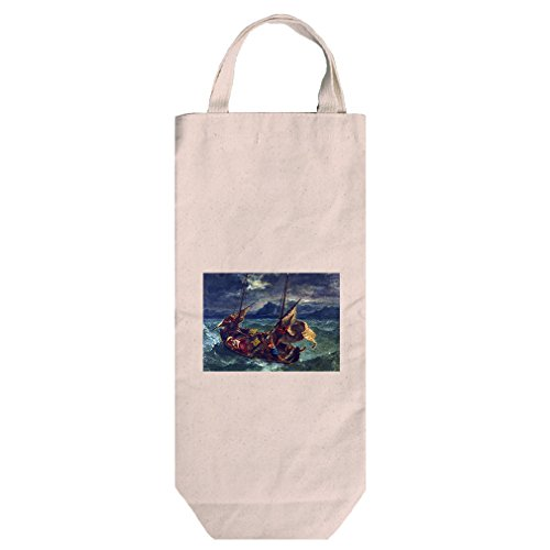 Christ On Galilee (Eugene Delacroix) Cotton Canvas Wine Bag Tote With - Or Shopping In Eugene