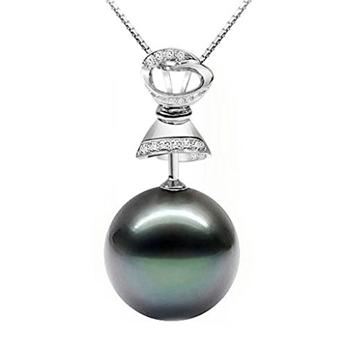Woman Thor Costume Uk (AmDxD Jewelry Silver Plated Women Pendant Necklace Pearl Black CZ Bell 925 Chain as Birthday Gift)