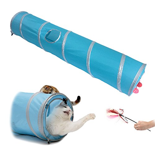 Enjoying Cat Toy Collapsible Tunnel Kitten Train Tunnel Toy Blue with Cat Teaser