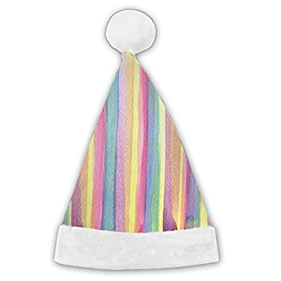 Rainbow Stripes Traditional Red And White Plush Christmas Santa Hat For Christmas Party Celebration