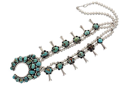 Sterling Silver Turquoise Cluster Pendant (Kenneth Jones, Squash Blossom Necklace, Turquoise Cluster, Navajo Handmade22.5in)
