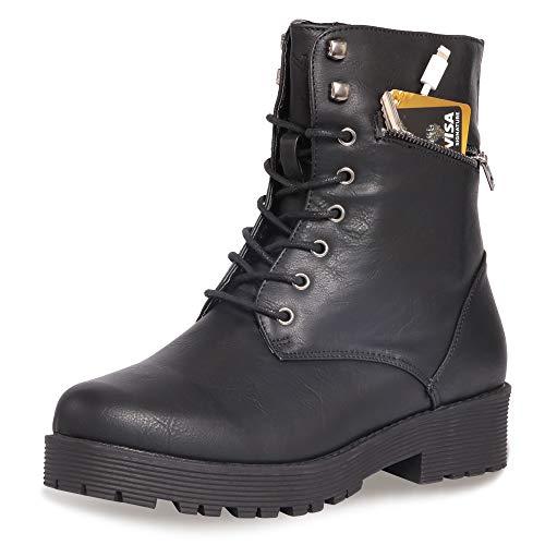 CINAK Military Combat Boots for Women- Winter Autumn Comfort Outdoor Waterproof Martin Booties Mid-Calf Shoes (10.5B(M) US/CN42/10.2'', Black)