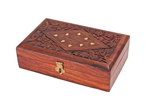 storeindya Handcrafted Decorative Wooden Keepsake Jewelry Trinket Box Storage Organizer Multipurpose with Intricate Floral Carvings - Jewelry Armoire Floral