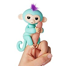 LUNIWEI Fingerings-Interactive Baby Monkey-Mia (Green with Purple Hair) Wow Wee Fingerlings Pet Electronic Little Baby Monkey Children Kids Audlt Toy