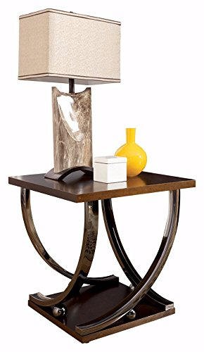 Contemporary Merlot Finish Wood (Ashley Furniture Signature Design - Rollins End Table - Contemporary Style Accent Table - Dark Brown With Chrome Base)