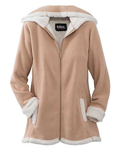 totes Sherpa Trim Fleece Jacket, Beige, X-Large