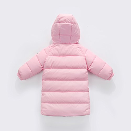 Happy Cherry Baby Girls Winter Hooded Coat Zipper up Puffer Outwear Windproof Thicken Down Jacket 1-2T Pink by Happy Cherry (Image #1)