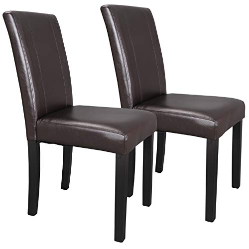 SUPER DEAL Solid Wood Leatherette Padded Parson Dining Chair, Waterproof & Oilproof Stretch Kitchen Dining Room Chairs, Espresso (2) (2 Piece Parson Chair)
