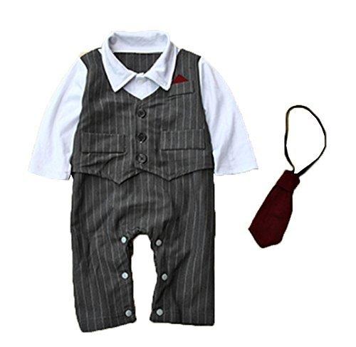 Baby Tie Striped Vest Formal Wear Wedding Baby Boy Romper Oneise