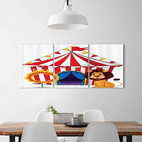 (3 Panel Wall Art Set Frameless eLi And Fire Ring In Frt Of The Circus Tent Lightbulbs Flame Adventure for the kitchen, dining room, living room, bar and so on)