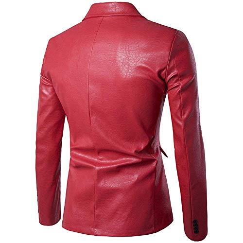 Fit Button coloré Blazer Business Jacket Taille One Mens Oudan Casual Large En Suit Pu cuir Rouge Slim F1OwqTvt
