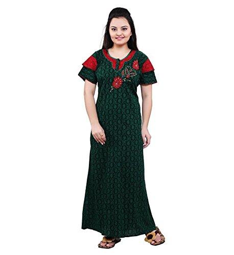 b068a47acc3 TRUNDZ Women s Cotton Full Length Night Wear (Green