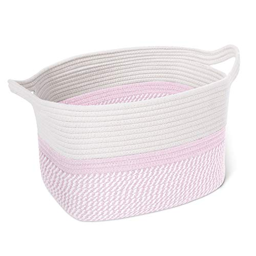 CHICVITA Square Cotton Rope Woven Basket with Handles for Books, Magazines, Toys - Cute Decorative Rectangle Basket for Baby Nursery, Living Room, Bathroom 13.5