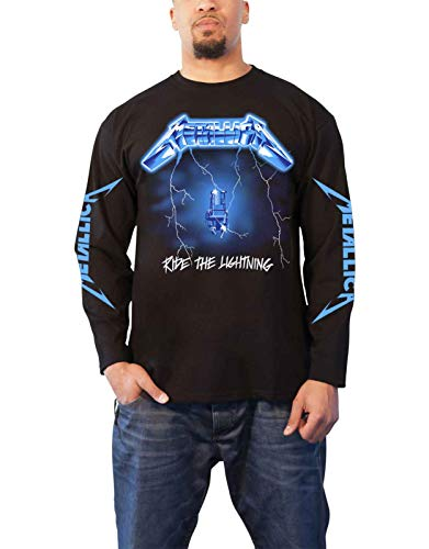 (Metallica T Shirt Ride The Lightning Official Mens White Long Sleeve Size XL)