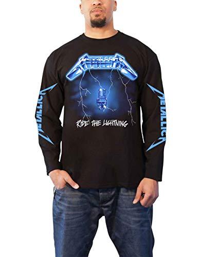 (Metallica T Shirt Ride The Lightning Official Mens White Long Sleeve Size)
