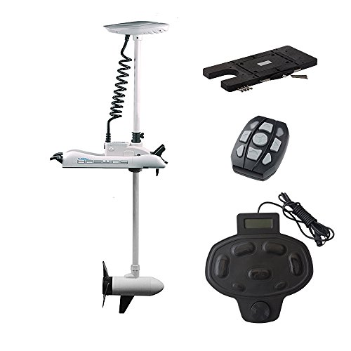 White 12v 55 lbs bow mount electric trolling motor with for Electric trolling motor accessories