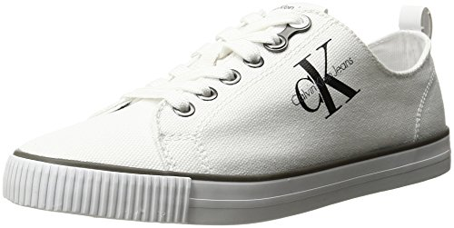 Calvin Klein Jeans Women's Dora Canvas Fashion Sneaker, White, 10 M US