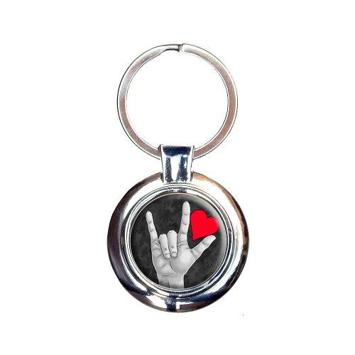 I Love You Sign Language Keychain Key Ring -