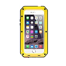 """R&MAO-iPhone 6/6S 4.7 Inches Case,Extreme Waterproof/Shockproof Dust/Dirt Proof Aluminum Metal Gorilla Glass Protection Case Cover Military Heavy Duty Protection Cover Case for Apple iPhone 6/6S 4.7""""-Yellow"""