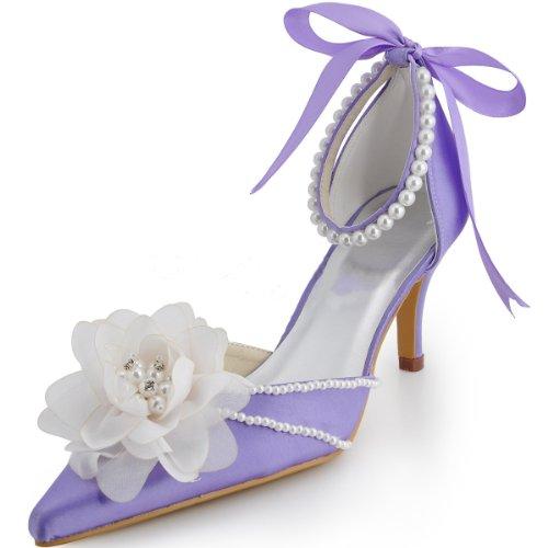 lavanda fiore perline raso chiuse in sposa Scarpe da SRAw0