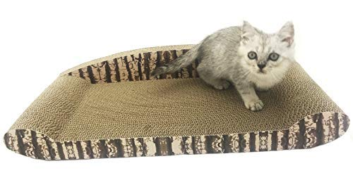 Cat Cardboard Scratcher Lounge - Kitten Scratch Post Pet Furniture Couch - Cat Scratching Pad Self Groomer Perch, 2 Sizes and Designs - by UsefulThingy