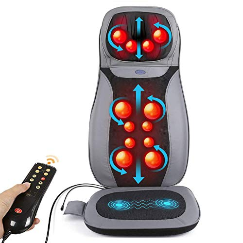 INTEY Shiatsu Neck & Back Massage Cushion with Heat, 12 3D-Massage Balls Full Back Kneading Shiatsu or Rolling Massage Chair pad with Height Adjustment, Relieve Muscle Pain for Home, Office or Car
