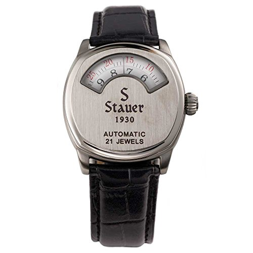 Stauer Men's Automatic Movement 1930 Dashtronic Watch with Genuine Black Leather Band