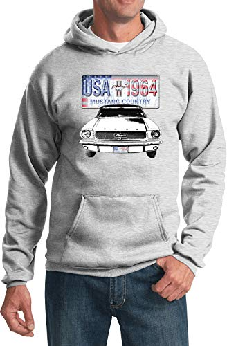 (Ford Mustang USA 1964 Classic Muscle Car Adult Hoody Hoodie Sweatshirt, XL, Ash)