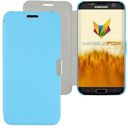 Mobilefox Magneto Schutzhülle Flip Case Samsung Galaxy S7 Edge Hellblau