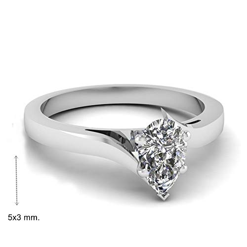 Gia Certified 0.30 Carat Pear Natural Diamond 14K White Gold Wedding Ring