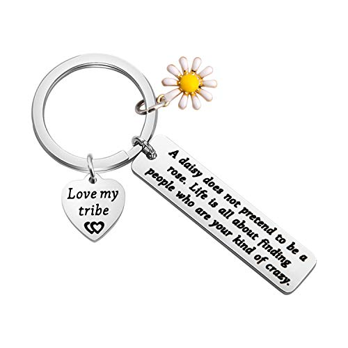 TIIMG My Tribe Gift Daisy Jewelry Celebrate Friendship Gift Love My Bride Tribe Jewelry Tribal Keychain Sorority Sister Gift (Daisy Love My Tribe)